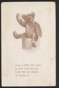 Details about Postcard Size STEIFF TEDDY BEAR? Poem Promo Ad 1910's