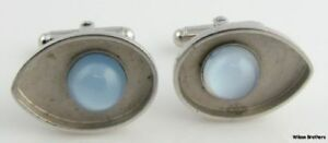 Simulated-MOONSTONE-CUFF-LINKS-Estate-Men-039-s-Fashion-Round-Solitaire