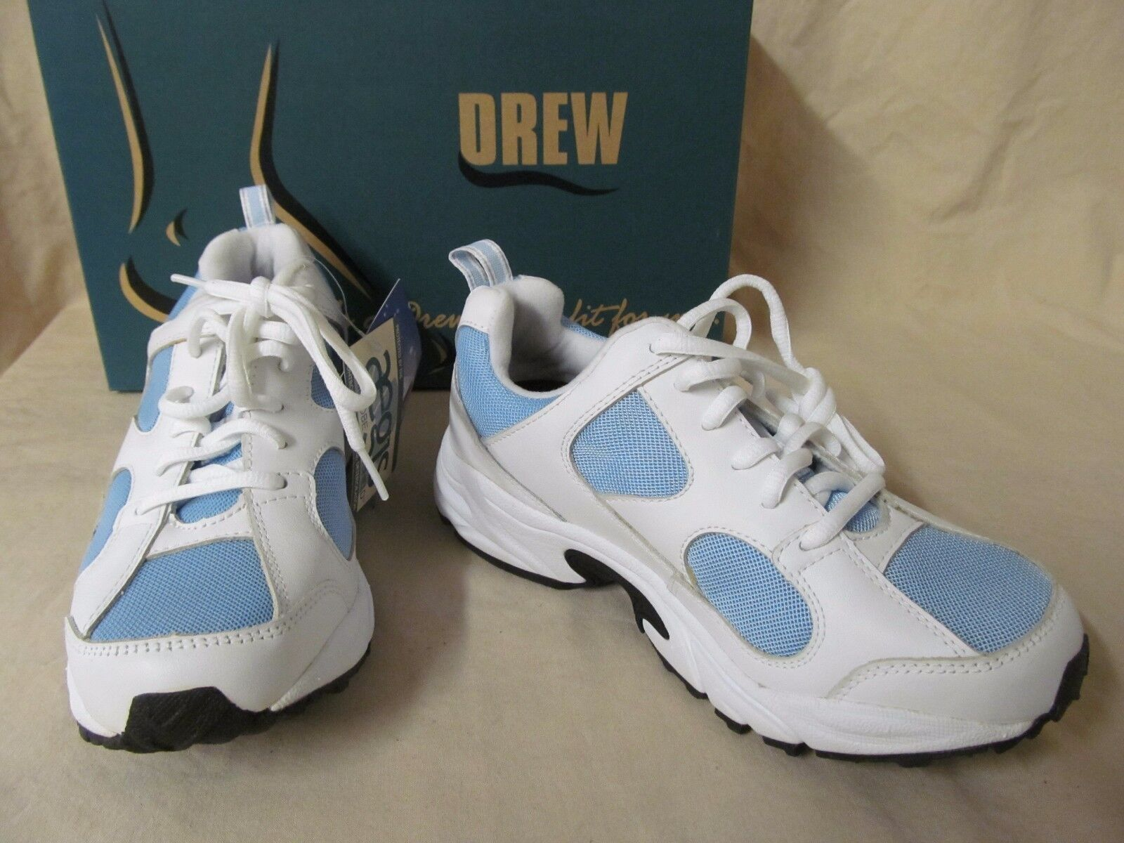 NWD Drew 6.5 M Flash White & bluee Leather Lace Up Athletic shoes Sneakers A