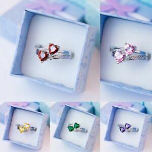 Heart Cut Cubic Zirconia Wedding Jewelry 925 Silver Rings for Women Size 6-10