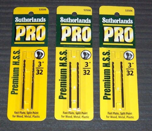 """2-Pack 3//32/"""" Sutherlands 53506 High Speed Steel Drill Bits USA 6 Bits 3 ea"""
