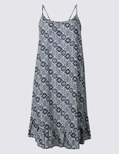 M /& S COLLECTION TILE PRINT NAVY MIX BEACH DRESS