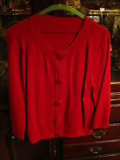 SEXY RED LONG SLEEVE SLEEK CARDIGAN BUTTON DOWN SWEATER - SIZE L - GREAT COND!