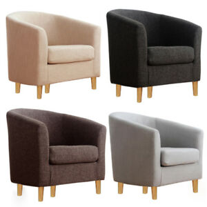 Image Is Loading 1 Single Seater Fabric Linen Tub Chair Home