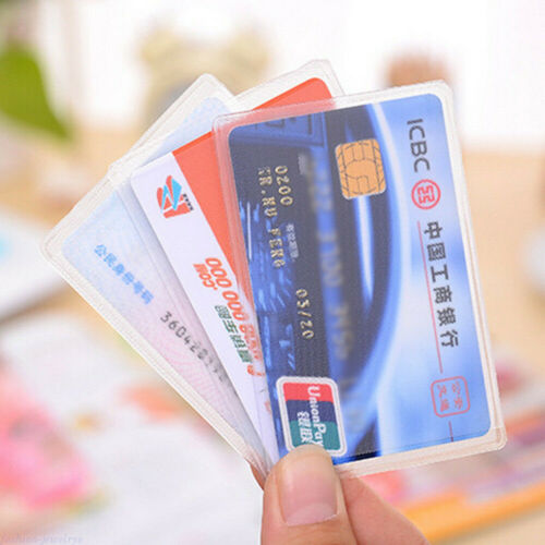 10//100Pcs Transparent ID Protector Cover Case Credit Card Business Sleeve Holder