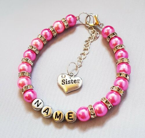 Hermana personalizado nombre pulsera encanto Granos de Perla Diamante sentimiento presentes