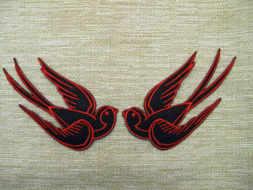 LARGE RED /& BLACK SWALLOWS PAIR Iron On Sew On Embroidered Patch