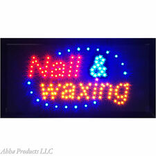 """Nails & Waxing Spa Manicure Pedicure LED Light window business SIGN 19x10"""" neon"""