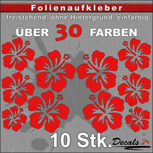 10er-SET-HIBISKUS-Aufkleber-Folienaufkleber-Auto-Styling-Blume-30-Farben