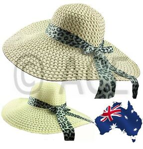 Womens Extra Wide Brim Ladies Summer Silver Leopard Bow Straw Floppy ... 9ce47c78f4b