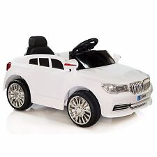 Kids Ride On Toys Cars 12V Battery BMW Remote Control MP3 AUX LED Wheels White