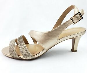 e5c82c04e897 Naturalizer Taimi Dress Sandals 7W Gold Pearl Metallic Strappy Heels ...