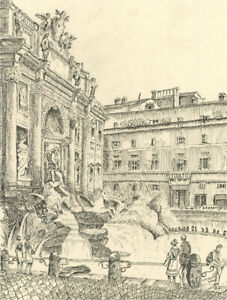 N.K. Day - 2001 Pen and Ink Drawing, Fontana di Trevi, Rome