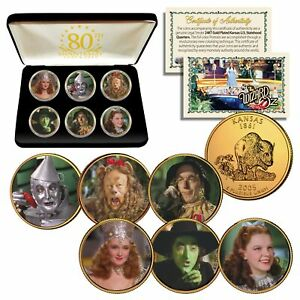 WIZARD-OF-OZ-Kansas-Quarters-24K-Gold-Clad-6-Coin-Set-with-80th-ANNIVERSARY-BOX