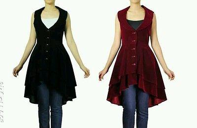 coat gothic jacket black steampunk women ladies long s victorian plus corset asy