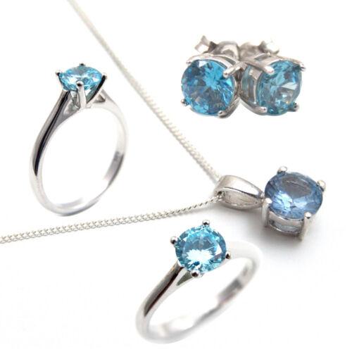Solitaire Ring Aquamarine Diamond Unique 1ct Solid Silver