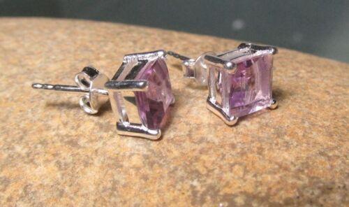 Sterling silver everyday cut 6x6mm AMETHYST STUD earrings Gift bag.