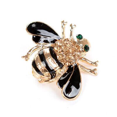 Women Delicate Enamel Little Bee Crystal Rhinestone Collar Pin Brooch Jewelry RG