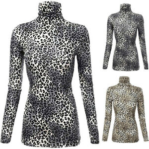 Women-Lady-Long-Sleeve-Leopard-Print-Turtleneck-Lightweight-Pullover-Tops-Blouse