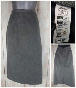 ST-MICHAEL-Size-14-16-Skirt-Grey-MIDI-Vintage-80s-Straight-Pencil-tailored-VGC