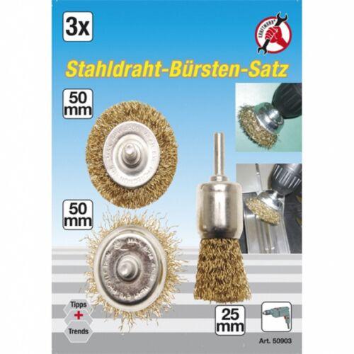 Drahtbürstensatz für Bohrmaschinen 3-tlg.