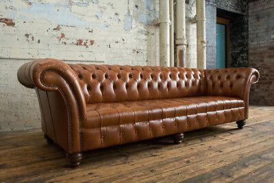 Dark Tan Leather Chesterfield Sofa