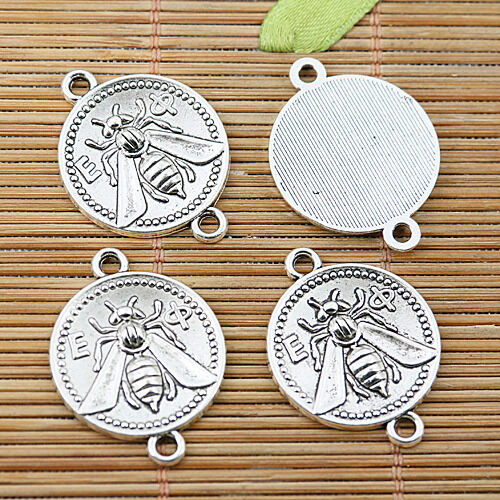 8pcs Tibetan silver bee round connectors EF1809