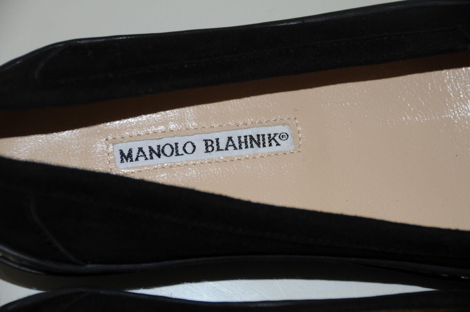 Nuovo Manolo Manolo Manolo Blahnik Basse Ford Camoscio Driving Mocassini Scarpe Nere 36.5 34.5 8b19b4