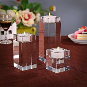 1-3pcs-Crystal-Glass-Cube-Candle-Holder-Glass-Stand-Tealight-Romantic-Decor
