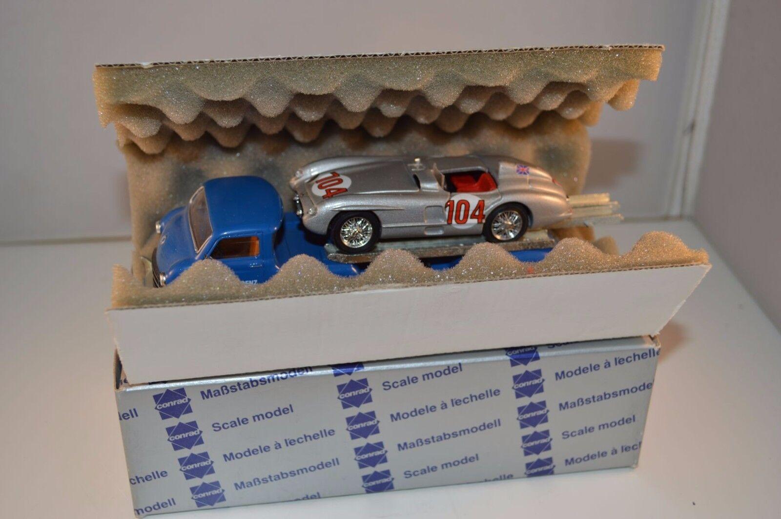 Conrad 1034 Mercedes Benz Renntransport mit Brumm MIB Rennwagen 1 43 selten