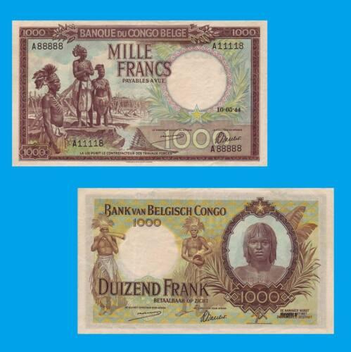 Reproductions UNC Belgian Congo 1000 Francs 10.05.1944