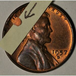 1957-D-LINCOLN-WHEAT-CENT-RETAINED-OBV-LAMINATION-NICE-ERROR-COIN-AA963SUT2
