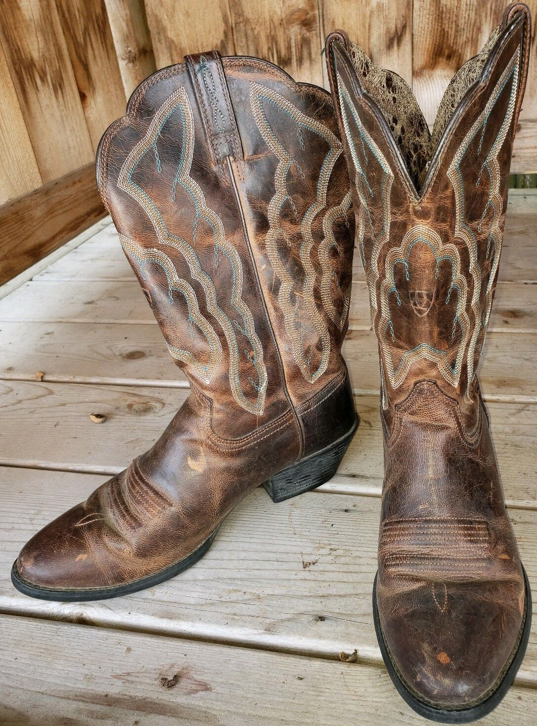 Womens Ariat Brown Leather Embroider Stitch Cowboy Boots 8 B Very Good Used Cond