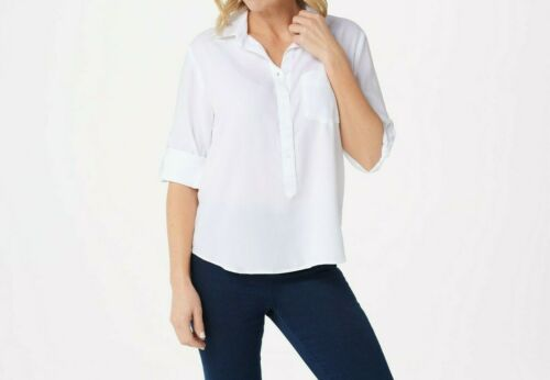 Side Stitch Tencera Curved Hem Top with Roll-Tab Sleeves White Small Size QVC