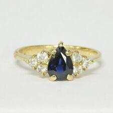 Ladies 14k Yellow Gold 3/4Ct Pear Cut Blue Sapphire & 1/4Ct Diamond Estate Ring