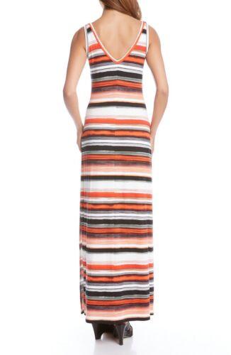Karen Kane 2L85508 Alana Orange//Black Striped Double-V Stretch Maxi Dress $139