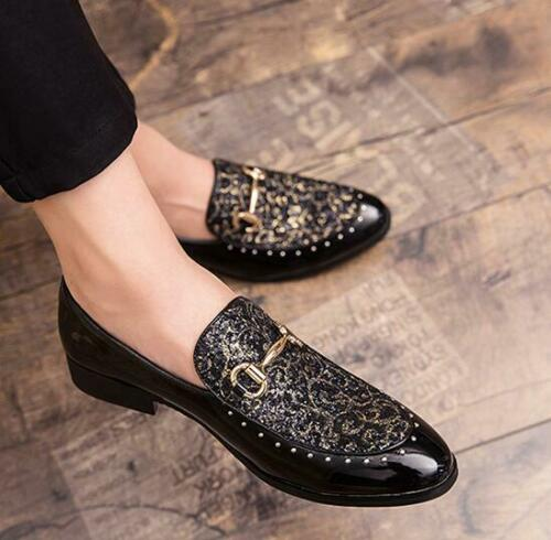 Men/'s Leather Pointy Toe Slip On Shiny Sequin Nightclub Party Dress Casual Shoes