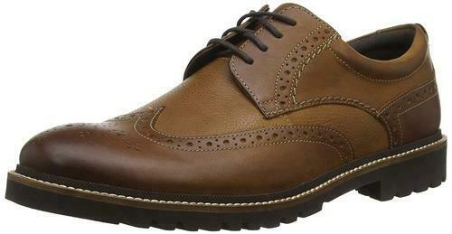 Rockport Marshall all'inglese da Uomo Marroneee Pelle Scarpe Brogue Paese Tg