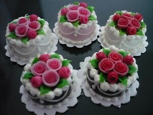 6 Mix Flower Cakes Top Dollhouse Miniatures Food Deco Bakery Blossom