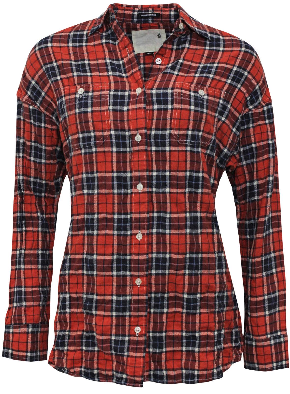 R13 KARO HEMD  Karo Hemd mit Rücken-Ausschnitt in rot schwarz, GR. M  NEU