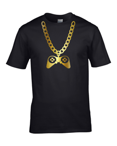 Bling Console Game Addict Funny Youth Boy/'s Tshirt Gold Chain Gamer