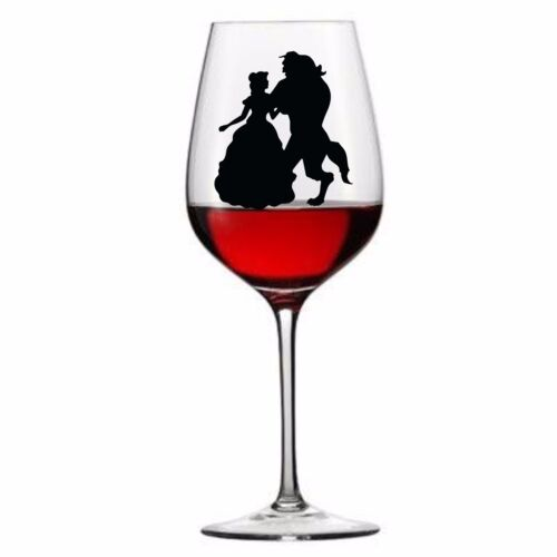 9 x Beauty and The Beast Disney Vinyl Decal Wine Glass stickers