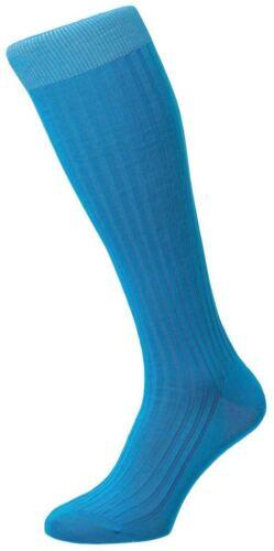 Bright Turquoise Pantherella Mens Danvers Rib Cotton Lisle Over the Calf Socks