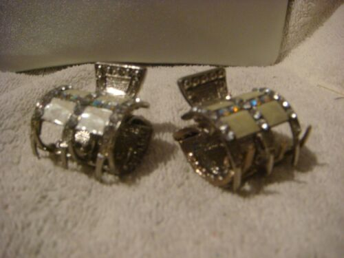 2 Hair claws metal silver with a crystal white stone cream enamel barrel design