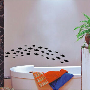 PESCE-in-Vinile-Decalcomania-Muro-Bagno-Arredamento-Bagno-Wall-Art-Sticker-Ocean-Fish-Scena