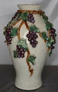 Heavy Art Pottery Porcelain Crackle Florentine Majolica Floor Vase Grape Vine Ebay