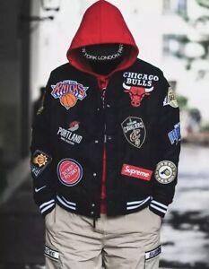 Supreme Ss18 Nike Nba Teams Warm Up Jacket Large Black Ebay