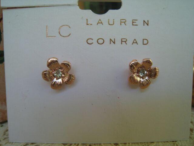 Lc Lauren Conrad Kohl S Delicate Botanicals Plated Rose Gold Post Earrings For Sale Online Ebay