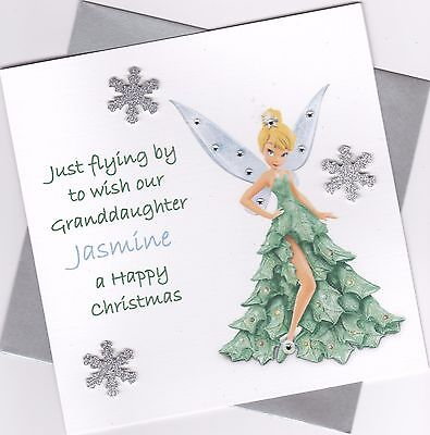 Handmade Personalised Cute Tinkerbell Birthday Card Any Age Daughter Niece