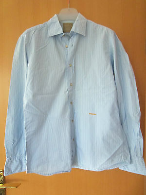 0039 Italy Italienisches Hemd Gr. M Hellblau Blau Langarm Herren ZuverläSsige Leistung